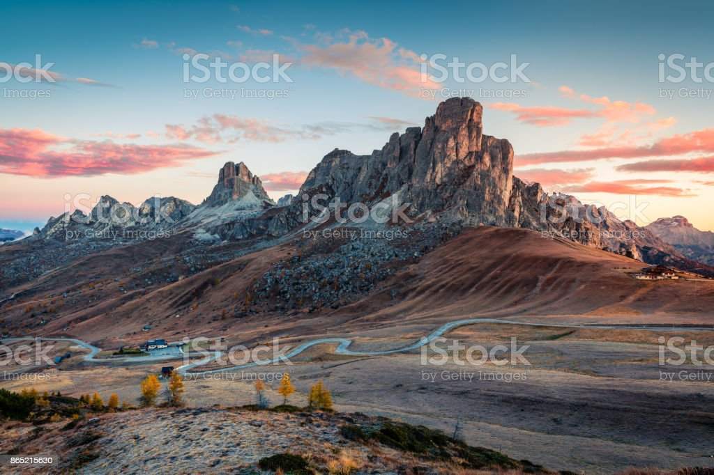 Fantastic morning view from the top of Giau pass. stock photo