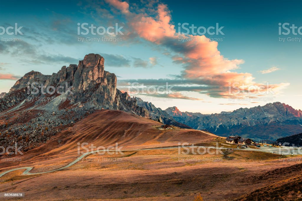 Fantastic morning view from the top of Giau pass with famous Ra Gusela, Nuvolau peaks in background. stock photo