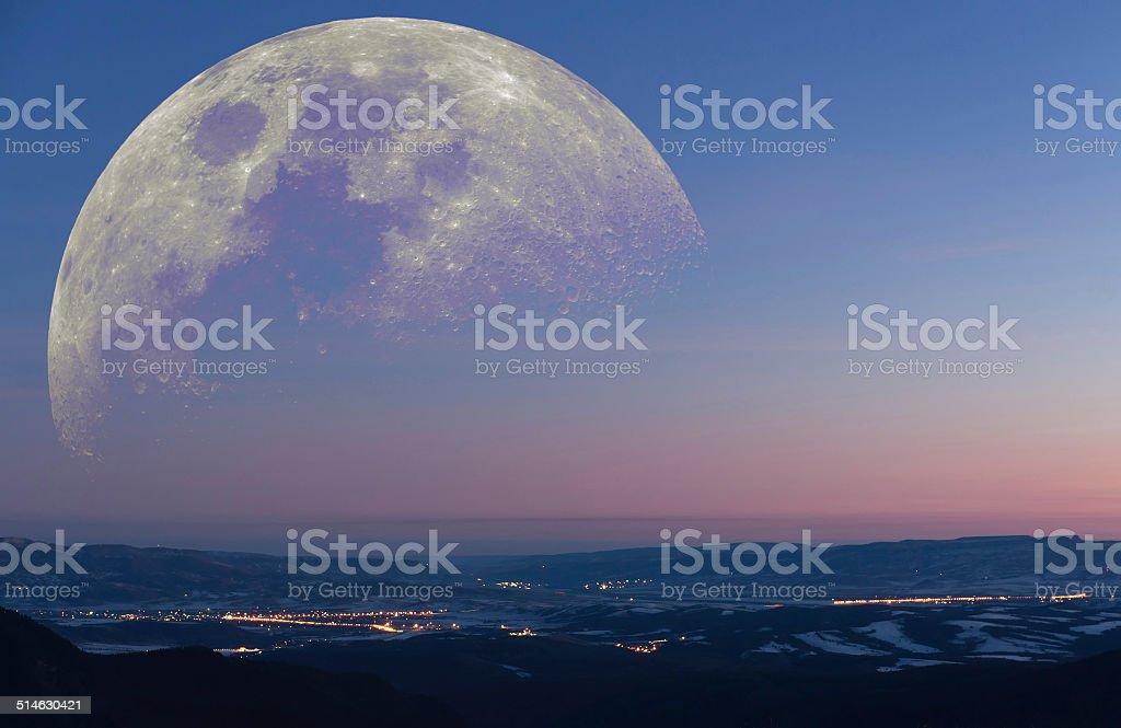 Fantastic mountain landscape moon stock photo