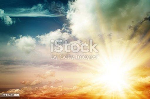 istock Fantastic multicolored sky 826492408