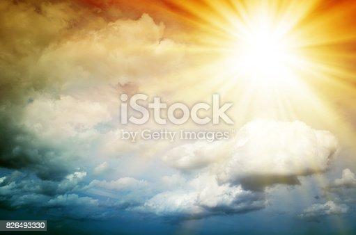 istock Fantastic multicolored sky 826493330