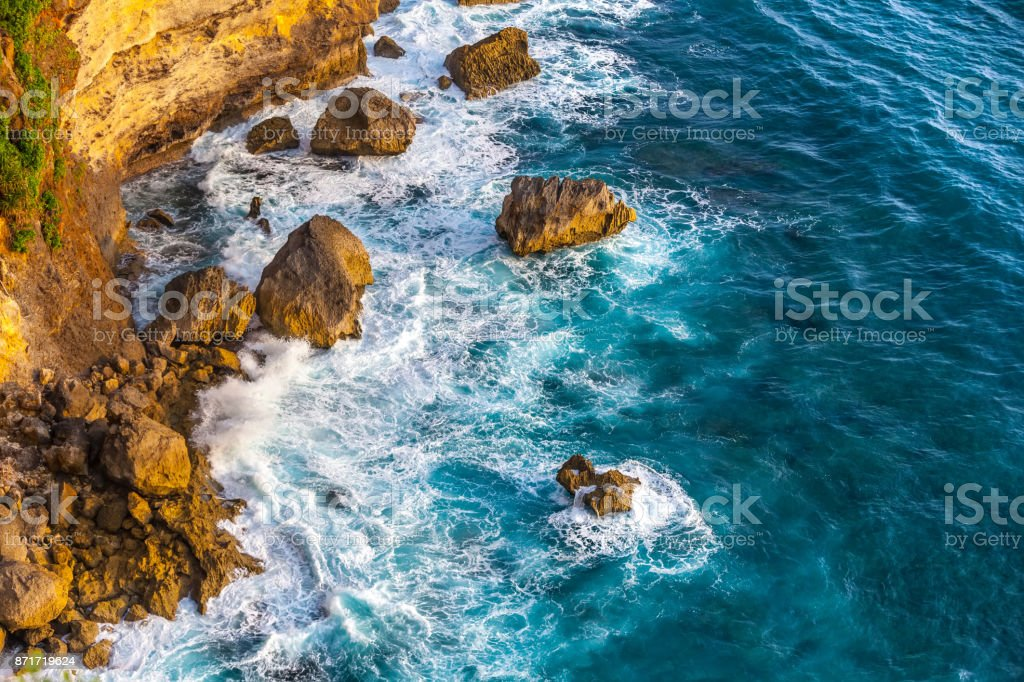 Fantastic scenic landscape from Pura Uluwatu cliff, Bali, Indonesia. stock photo