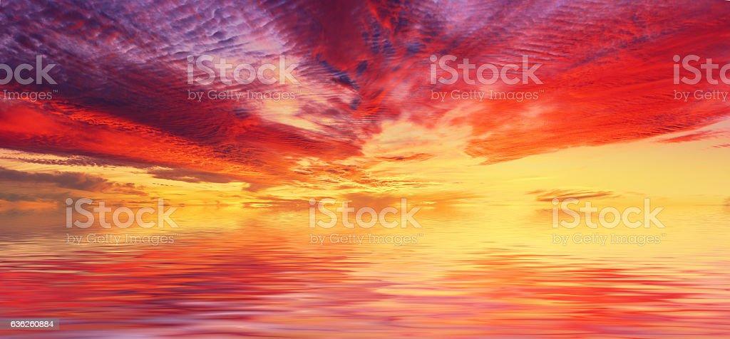 Fantastic sea sunset stock photo
