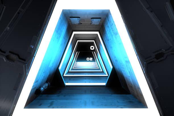 Fantastische Raumschiff Korridor und Türen – Foto