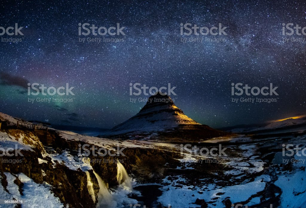 Fantastic starry sky over Kirkjufell, Iceland stock photo