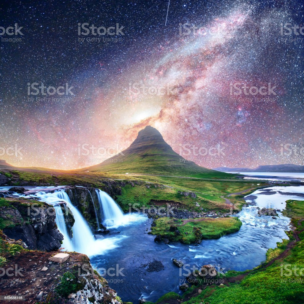 Fantastic starry sky over landscapes and waterfalls. Kirkjufell mountain,Iceland Courtesy of NASA. stock photo