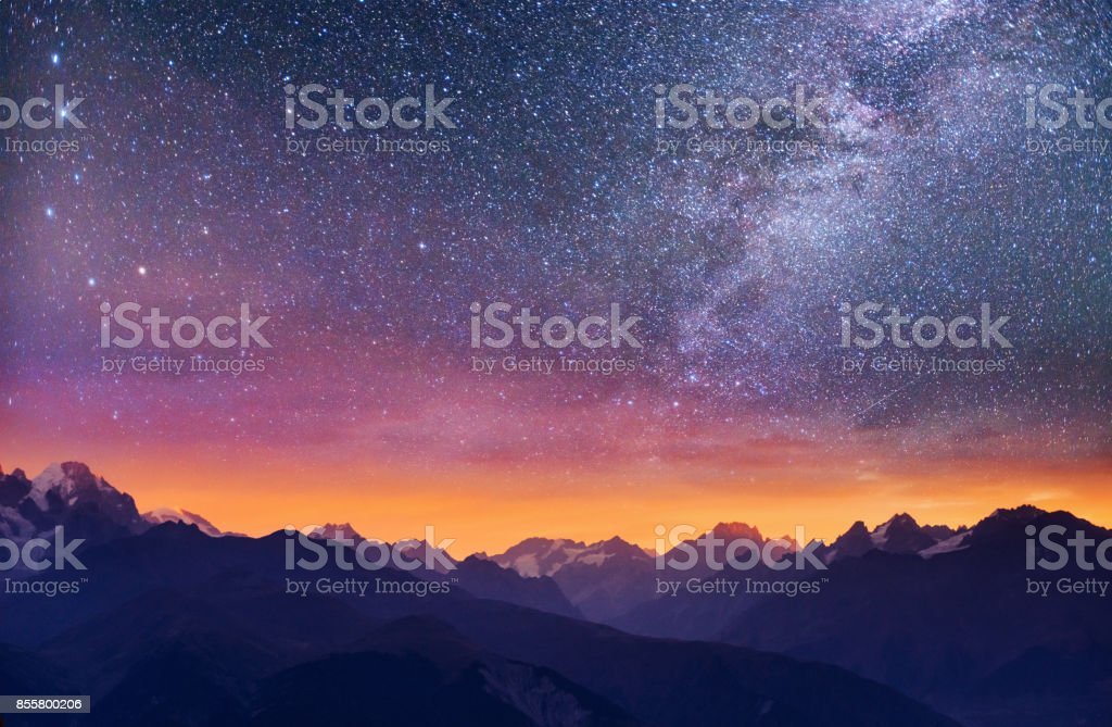 Fantastic starry sky. Thick fog on the mountain pass Goulet. Georgia, Svaneti. Europe stock photo