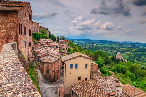 Fantastic summer Tuscany landscape and medieval cityscape, Montepulciano, Italy, Europe stock photo