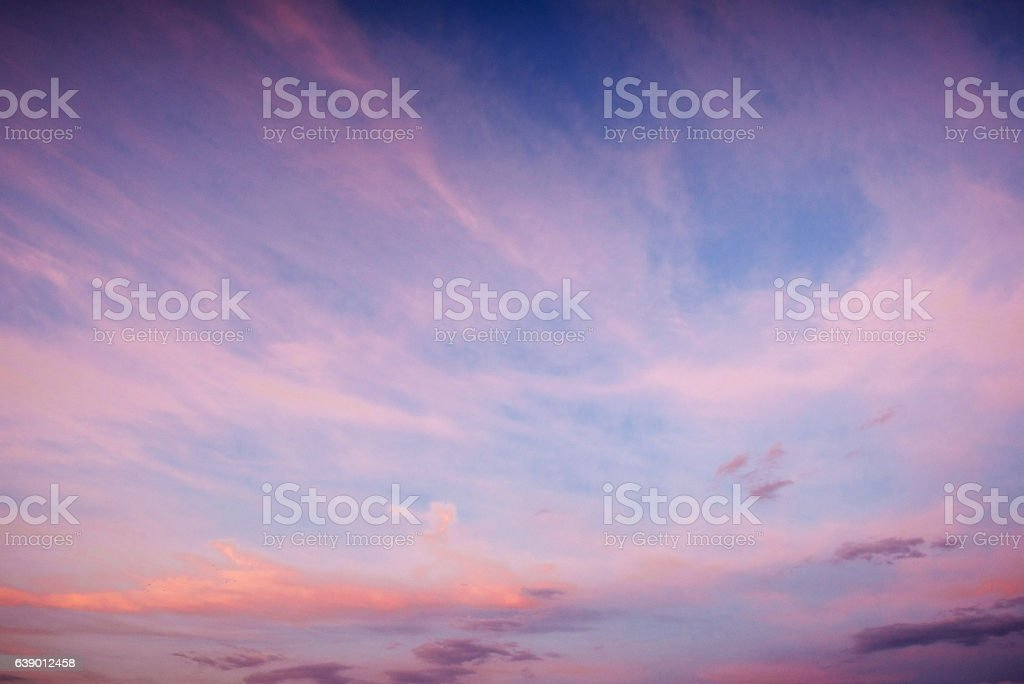 Fantastic sunset in the mountains cumulus clouds. stock photo