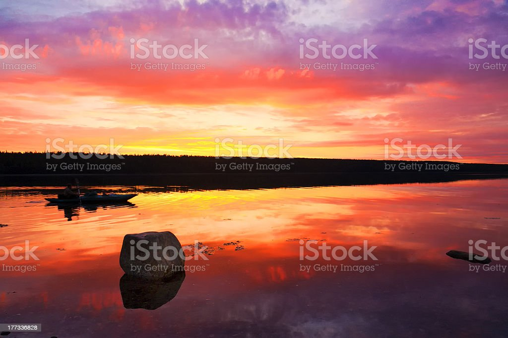 Fantastic sunset over the White Sea. royalty-free stock photo