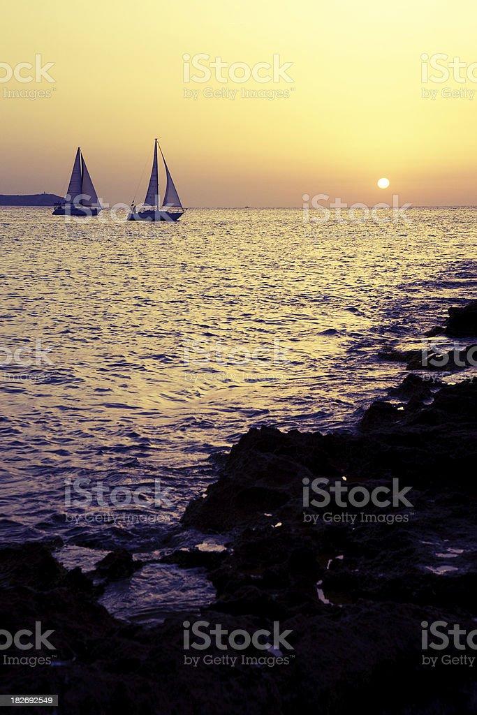 Fantastic sunset (Cafe del Mar) royalty-free stock photo