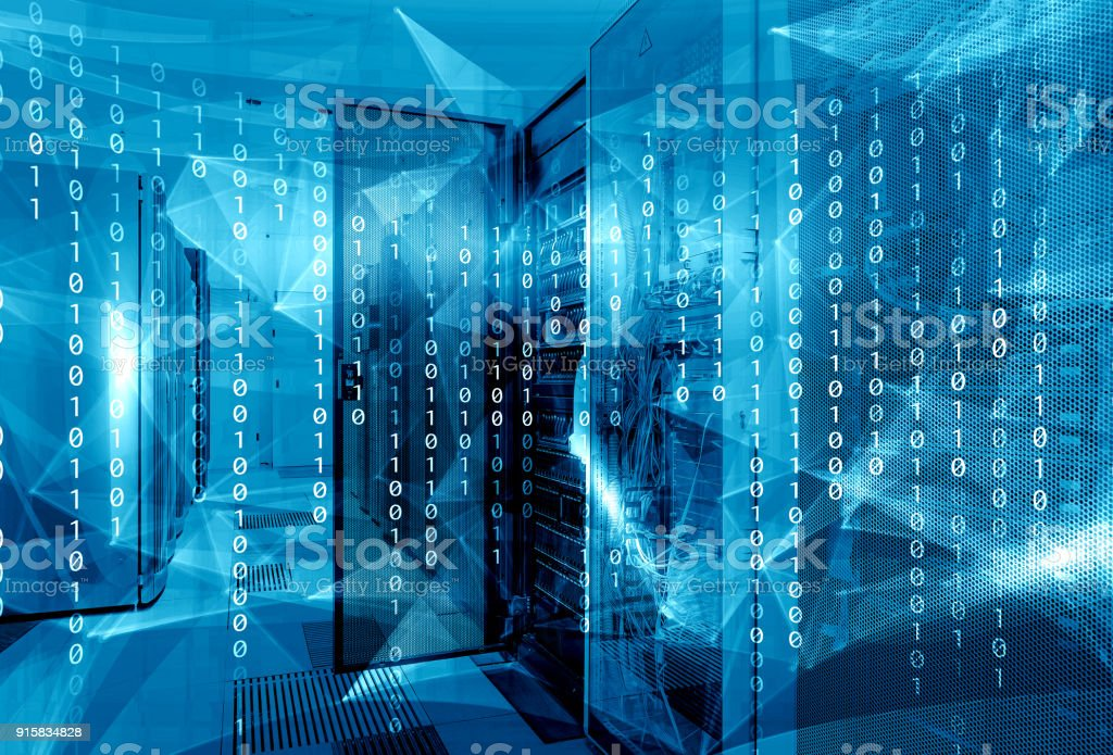 fantastic symmetric data center room with a binary code penetrating supercomputers stock photo