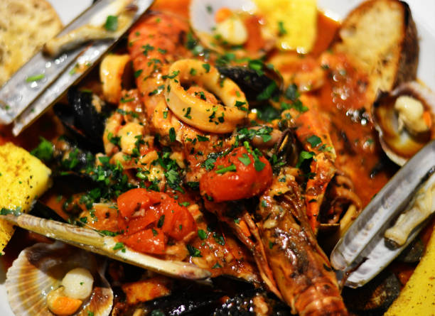 A fantastic tasty fish soup with mussels and squid shrimp scampi and shrimp and tomato