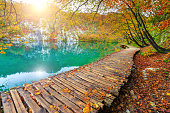 Famous tourist wooden pathway in the colorful deep forest with clean lake, Plitvice National Park, Croatia, Europe