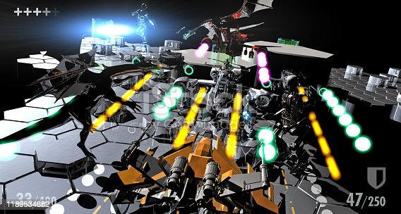 Fantastic characters fighting on a futuristic game platform.