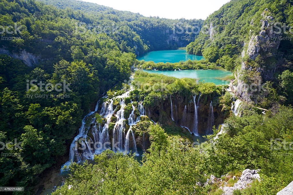 Fantastic view in the Plitvice Lakes National Park . Croatia bright stock photo