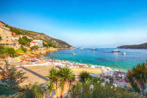 Fantastic view of Banje beach and Lokrum island in Dubrovnik stock photo
