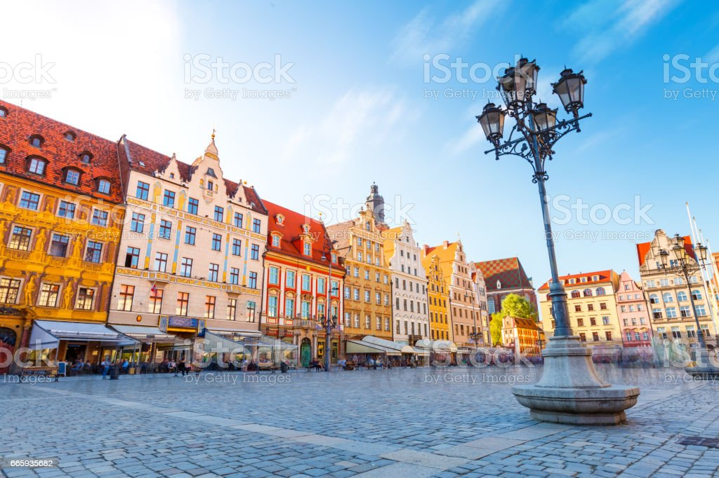 Fantastic view of the ancient city hall Wroclaw (Ratusz Wrocawski) stock photo
