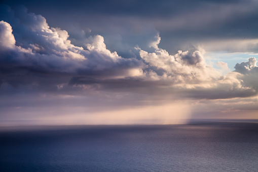 istock Fantastic view of the dark overcast sky. 1140386923