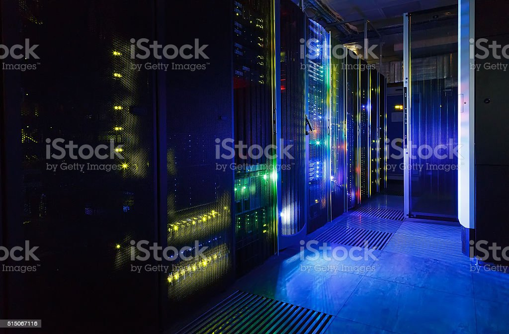 fantastic view of the mainframe in the data center rows stock photo