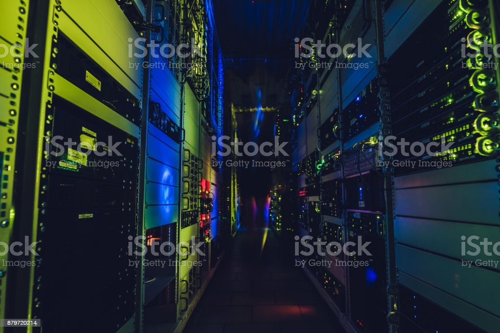 Fantastic view of the mainframe in the data center rows. stock photo