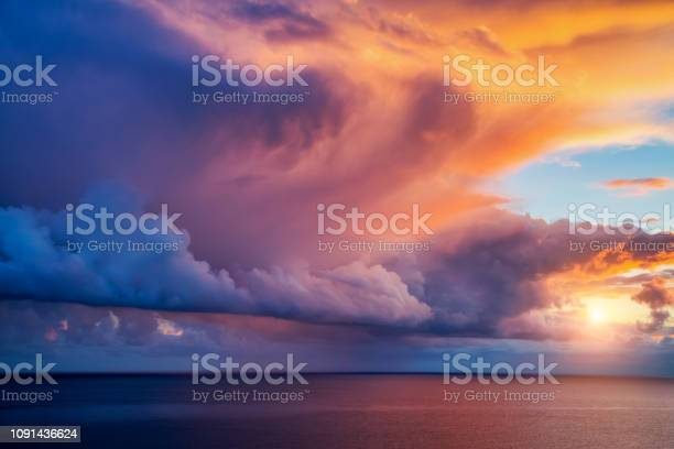 Photo of Fantastic view of the overcast sky. Dramatic and picturesque morning scene.