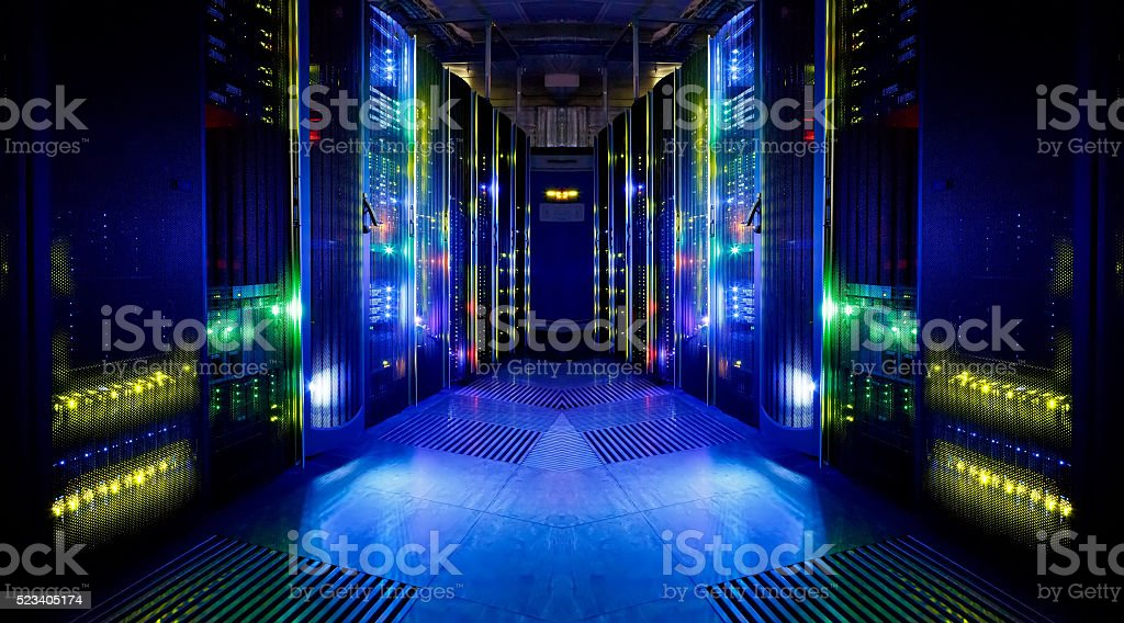 fantastic view of the server room stock photo