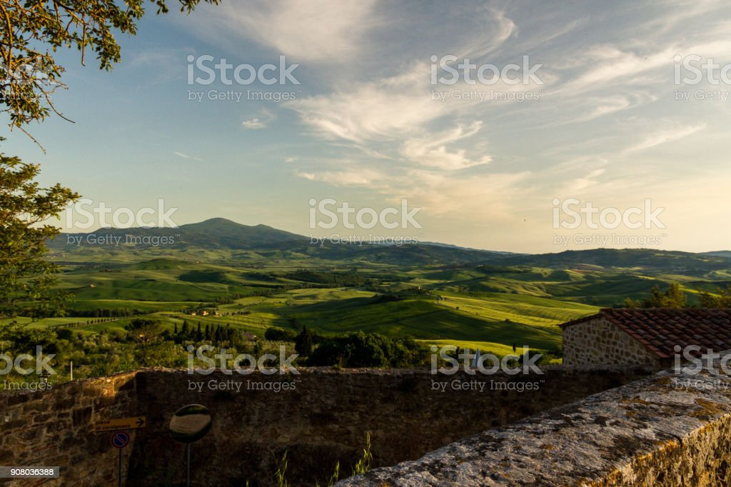 A Fantastic View Of The Val D' Orcia Valley At Sunset From Pienza stock photo
