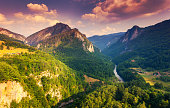 Fantastic view Tara river gorge - is the second biggest canyon in the world and the biggest one in Europe in the national park Durmitor in Montenegro.