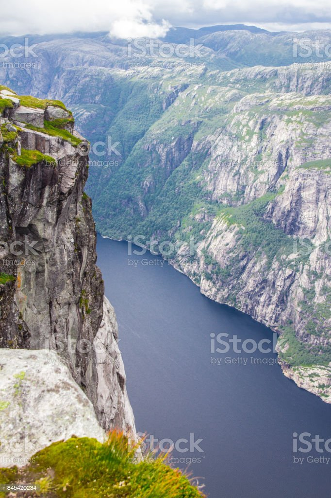 Fantastic views of the evening mountains during sunset. Dramatic and picturesque scene. Lysefjorden, Kjerag, Norway stock photo
