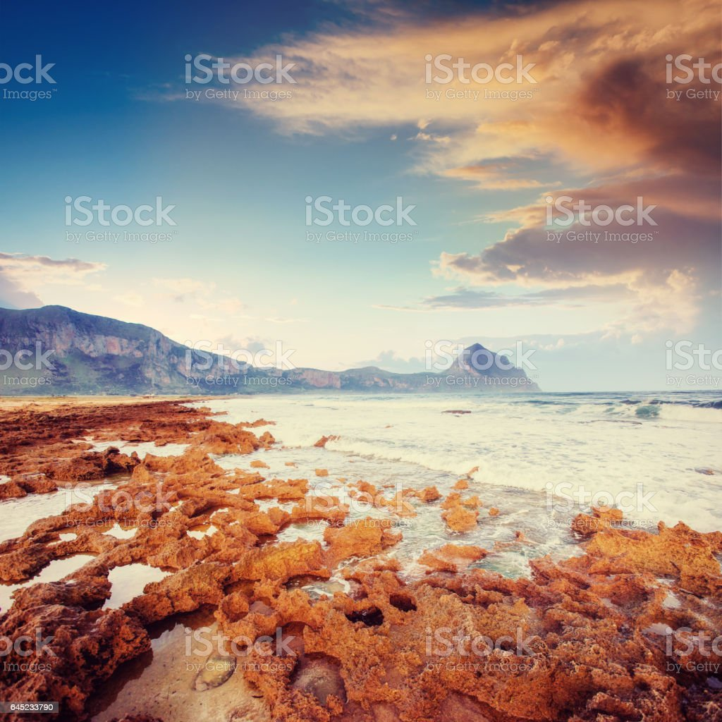 Fantastic views of the sea with blue sky. stock photo