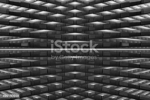 istock Fantastic warehouse or storage. Logistics concept. Futuristic architectural composition. 499150948