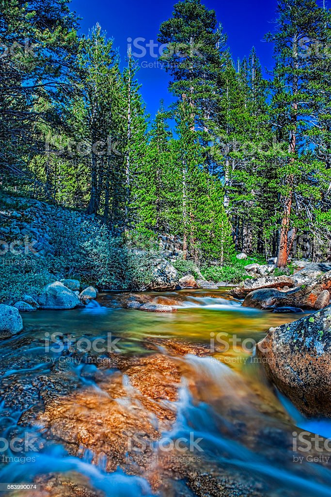 Fantastic Water Streams Photographed in Yosemite National Park stock photo