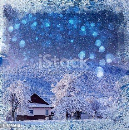 1039894076 istock photo fantastic winter landscape. Chalet under the stars. background w 643575618
