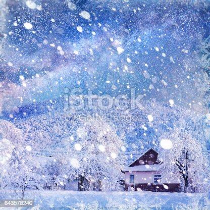 1039894076 istock photo fantastic winter landscape. Chalet under the stars. background w 643578240