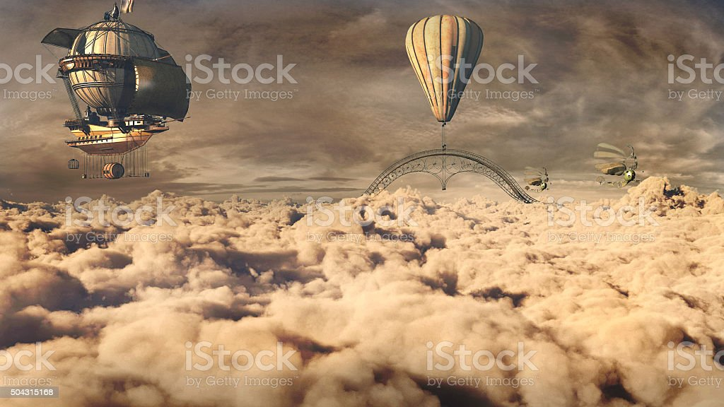 Fantasy airship stock photo