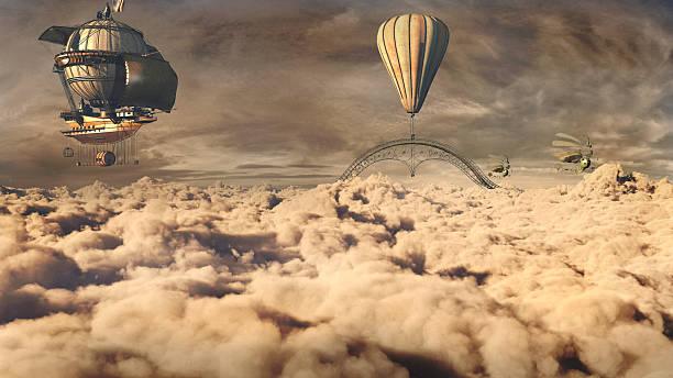 fantasy airship - steampunk stockfoto's en -beelden