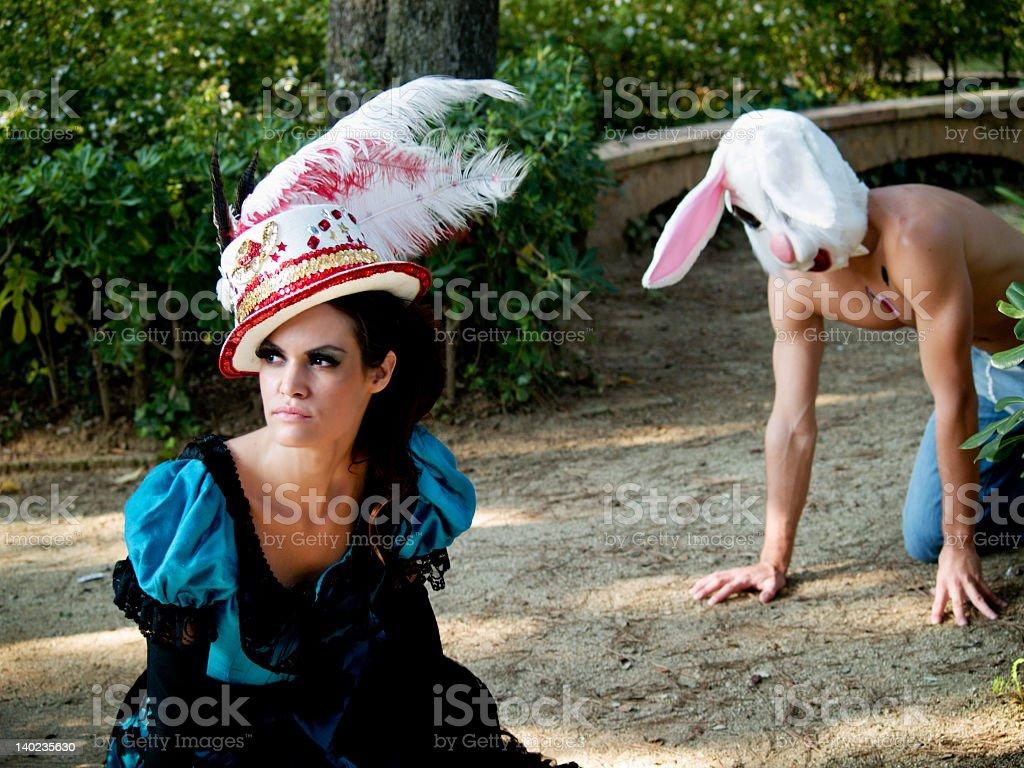 Fantasy Alice and the Rabbit royalty-free stock photo