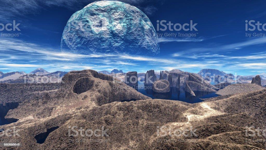 Fantasy alien planet. 3D rendering royalty-free stock photo