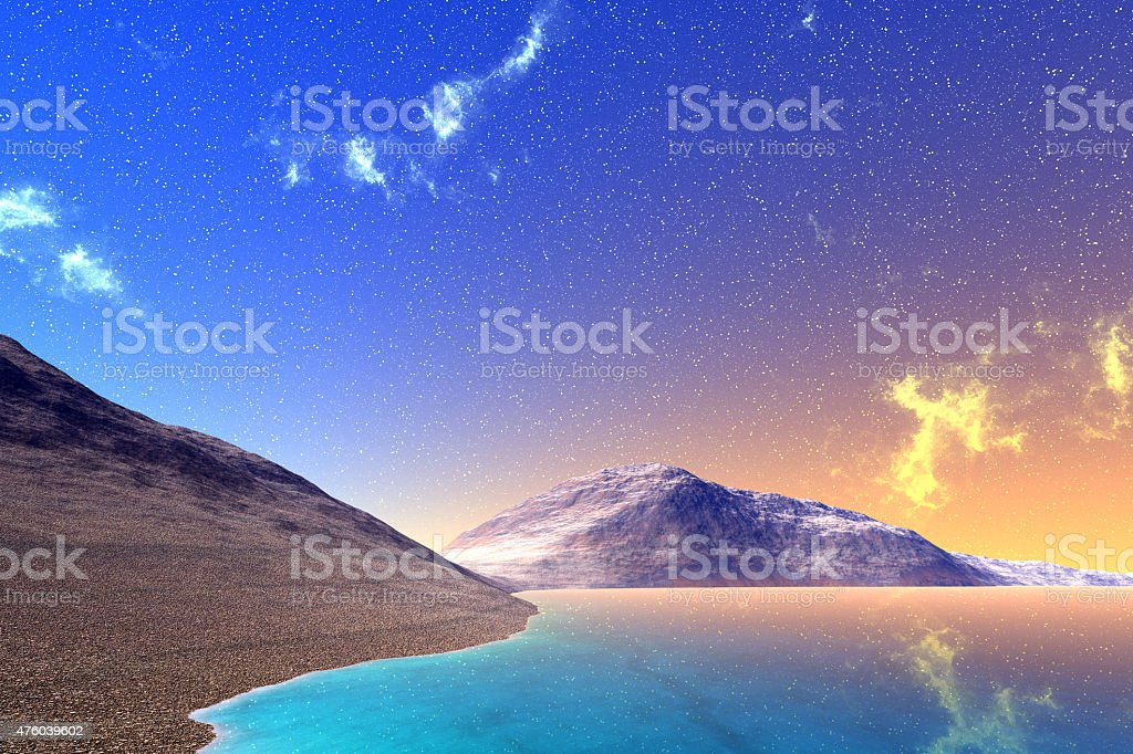 Fantasy alien planet. Rocks and lake stock photo