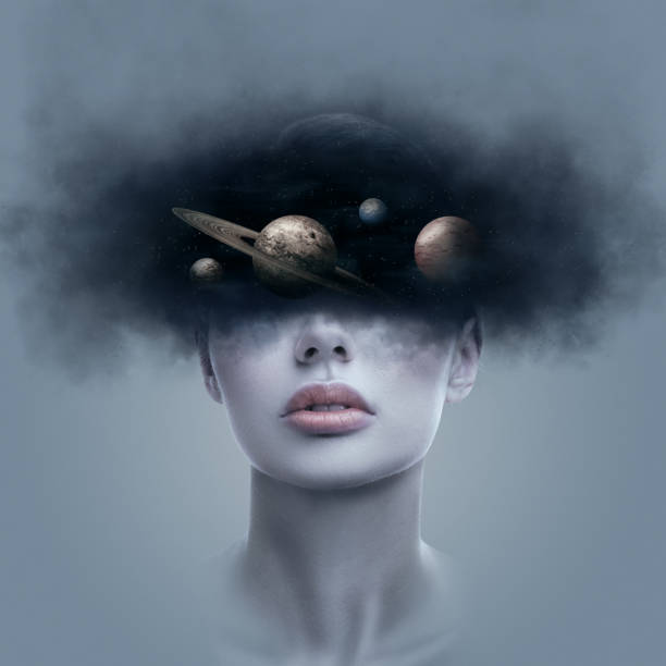 Fantasy art portrait of young woman with head in galaxy outer space