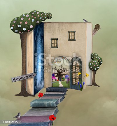 Magic pathway to the book house - 3D illustration