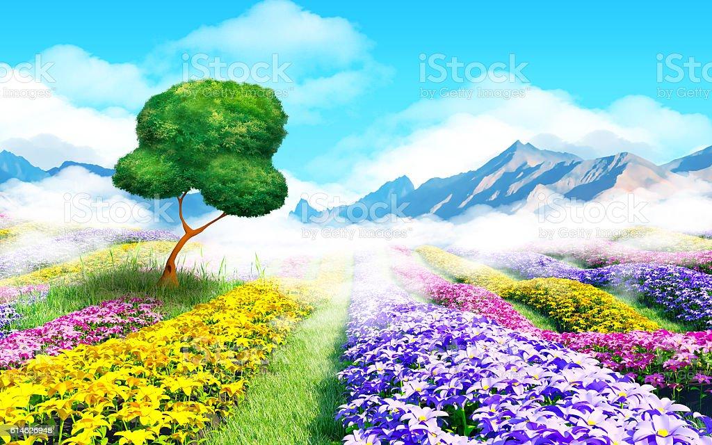 fantasy cartoon landscape stock photo