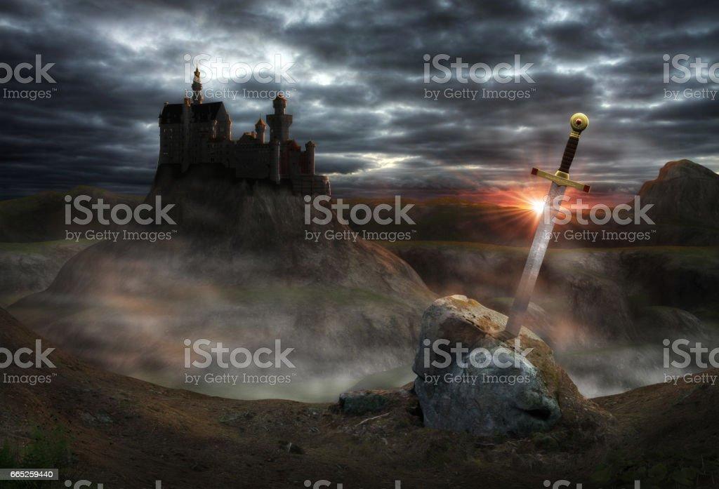 Fantasy Castle Camelot stock photo