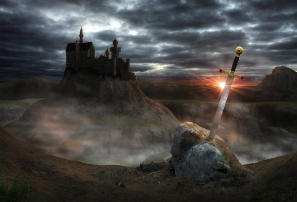 fantasy castle camelot - sword zdjęcia i obrazy z banku zdjęć