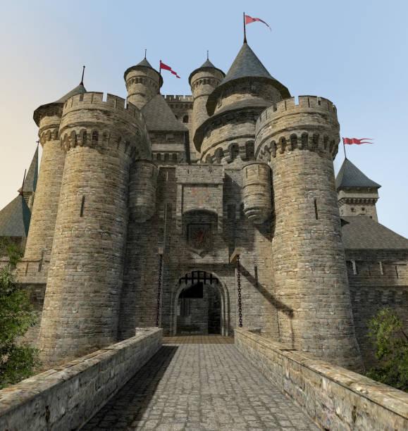 fantasy castle gate bridge - castle stock pictures, royalty-free photos & images