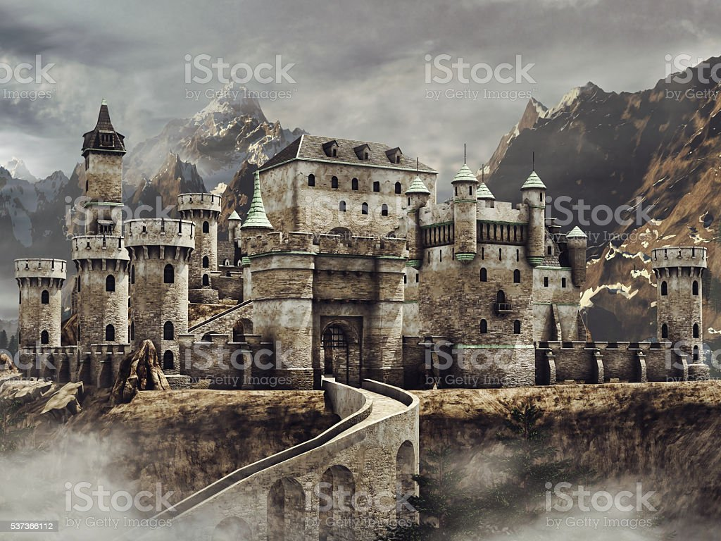 Fantasy castle in the mountains stock photo