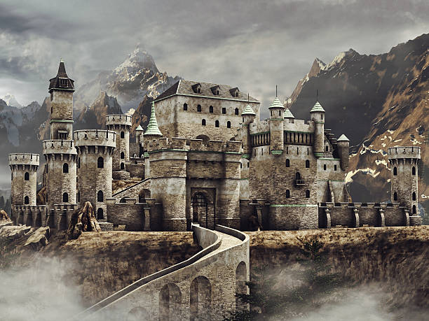 fantasy castle in the mountains - castle stock photos and pictures