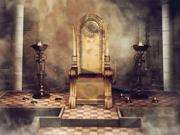 fantasy celtic throne with burners and candles - tron zdjęcia i obrazy z banku zdjęć