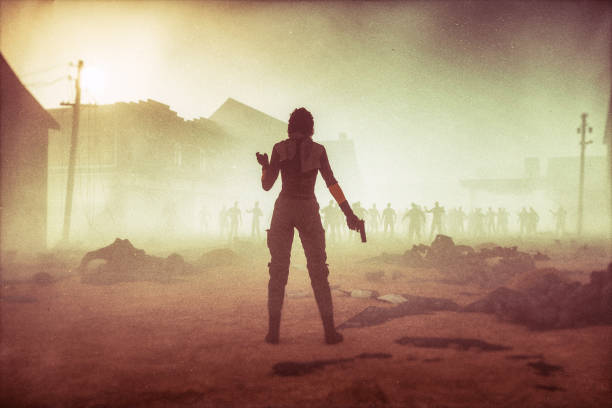 fantasy character against zombie hordes - zombie apocalypse stock photos and pictures